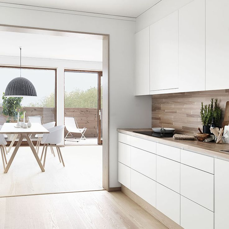 cocina blanca y madera tarragona